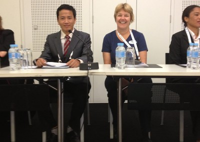 Pham Van Son, Director of Nursing Chau Duc Hospital and Val Porter Q-HET ready to present