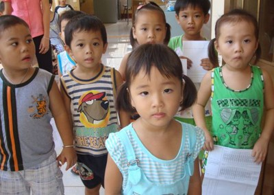 Vietnamese young patients waiting their turn at the Long Tan Dental Clinic.