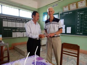 Dave White with Bong Trang headmaster