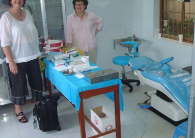 Judy Twelftree and Lesley MacKrill (Hygienist) checking out the new Dental Chair at the Long Tan Dental Clinic